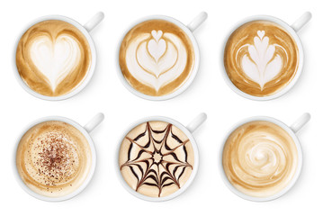Set of coffee latte or cappuccino foam art