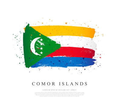 Flag of Comoros. Brush strokes are drawn by hand.