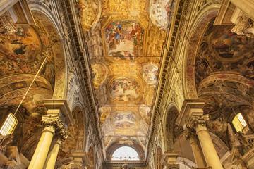 Interior of the 16th century baroque San Siro basilica