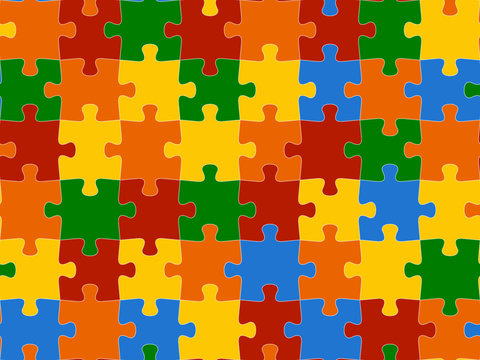 Colorful seamless piece puzzle presentation jigsaw background pattern. EPS 10