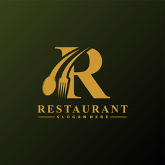 Initial Letter R Logo with Spoon And Fork for Restaurant logo Template. Editable file EPS10.