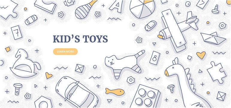 Kid's Toys Doodle Background Concept