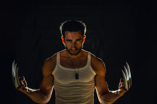 Man with strong claws