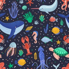 Wall Mural - Childish seamless pattern with happy marine animals or funny underwater creatures living in sea. Ocean fauna on black background. Flat cartoon vector illustration for wrapping paper, wallpaper.