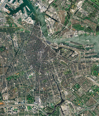 Foto op Plexiglas Nasa High resolution Satellite image of Amsterdam, Netherlands (Isolated imagery of the Netherlands. Elements of this image furnished by NASA)