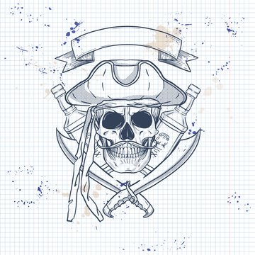 Sketch pirate skull with sword
