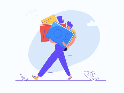 Young man carrying heavy book for school or college education. Flat modern concept vector illustration of burden of huge knowledge during lifetime. Casual design on white background
