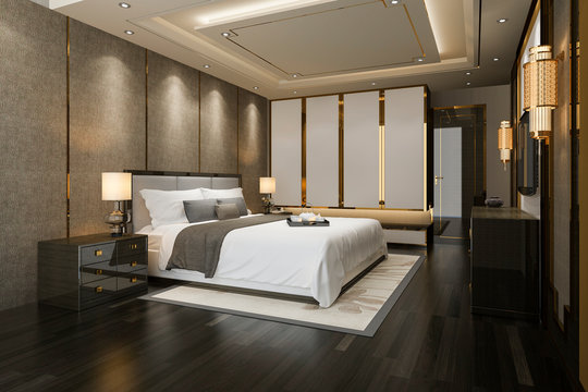 3d rendering luxury modern bedroom suite tv with wardrobe