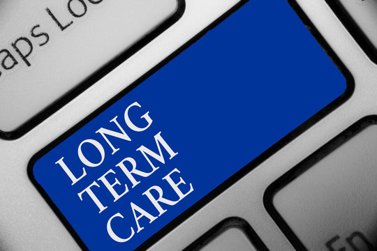 Text sign showing Long Term Care. Conceptual photo Adult medical nursing Healthcare Elderly Retirement housing Keyboard blue key Intention create computer computing reflection document