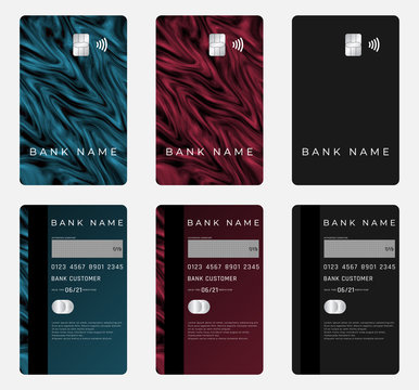 Realistic portrait bank card template. Colorful background.
