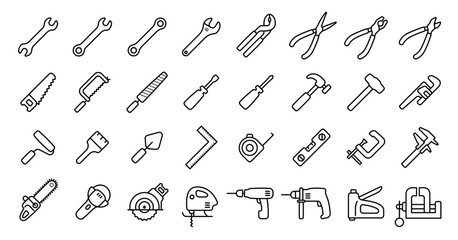 Tool Icon Set (Thin Line Version)