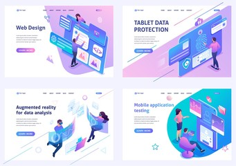 Set isometric landing pages, on the topic of web design, information security, mobile application testing, alternative reality. For website and mobile apps develop Wall mural
