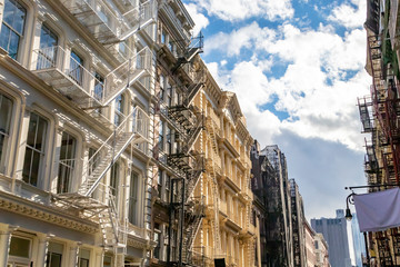 Historic buildings on a sunny summer day in the SoHo neighborhood of Manhattan in New York City