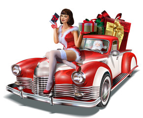 Christmas pin-up girl with gift box in hands  while sitting on retro car.