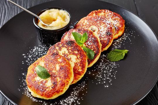 quark Potato pancakes on a black plate
