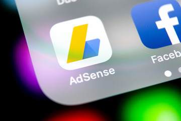 Sankt-Petersburg, Russia, August 10, 2018: Google AdSense application icon on Apple iPhone X screen close-up. Google AdSense app icon. Google AdSense application. Social media network