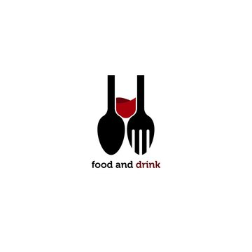 food and drink logo vector icon ilustration, wine and dinner logo vector icon ilustration