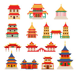 Traditional chinese buildings, asian architecture chinatown vector