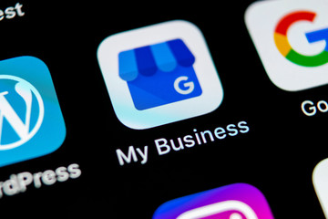 Sankt-Petersburg, Russia, May 10, 2018: Google My Business application icon on Apple iPhone X screen close-up. Google My Bysiness icon. Google My business application. Social media network