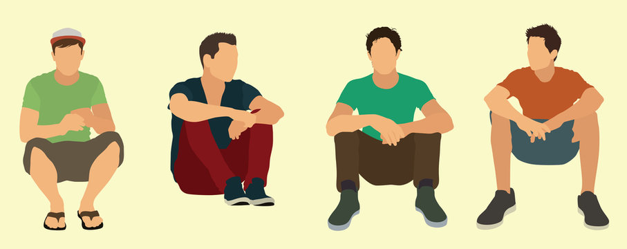 Teen Males Sitting on the Ground or Floor