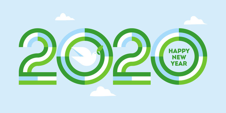 Happy New Year 2020 peaceful greeting card. Elegant striped numbers and white peace dove with olive branch at clear blue sky. Geometric vector illustration for brochure cover or holiday calendar