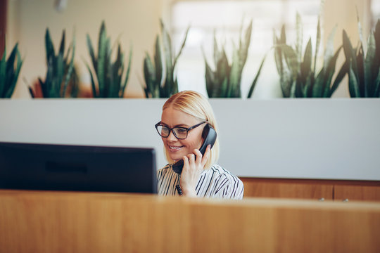 Smiling businesswoman talking on the telephone at a reception de