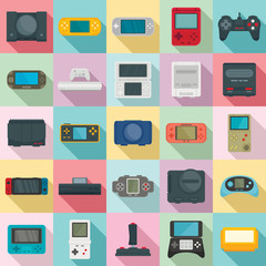 Console icons set. Flat set of console vector icons for web design