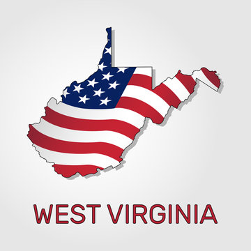 Map of the state of West Virginia in combination with a waving the flag of the United States. West Virginia silhouette or borders for geographic themes - Vector