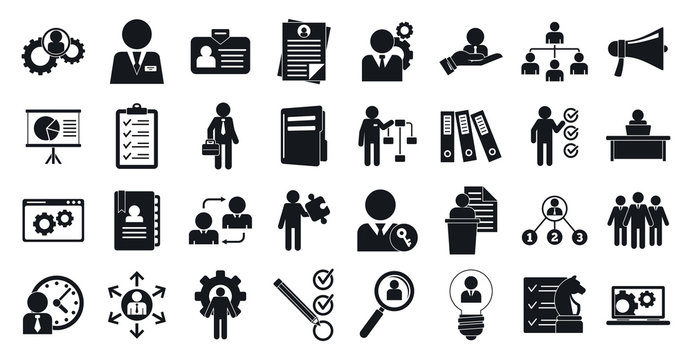 Administrator icons set. Simple set of administrator vector icons for web design on white background