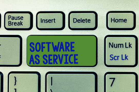 Writing note showing Software As Service. Business photo showcasing On Demand licensed on Subscription and centrally hosted.