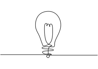 light bulb isolated on white background continuous one line drawing