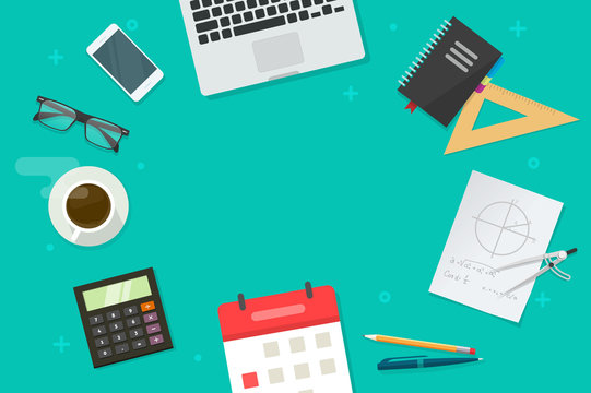 Working table and education or school objects and copy space for text vector, flat cartoon lay of desk top view with laptop computer, phone and coffee cup, study or learning workplace background image