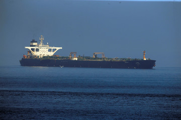 Iranian oil tanker Grace 1 sits anchored after it was seized in July by British Royal Marines in the Strait of Gibraltar