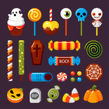 Halloween candies flat vector isolated illustrations set