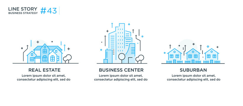 Set of illustrations concept with business concept. Workflow, growth, graphics. Building, city, navigation. linear illustration Icons infographics. Landing page site print poster.