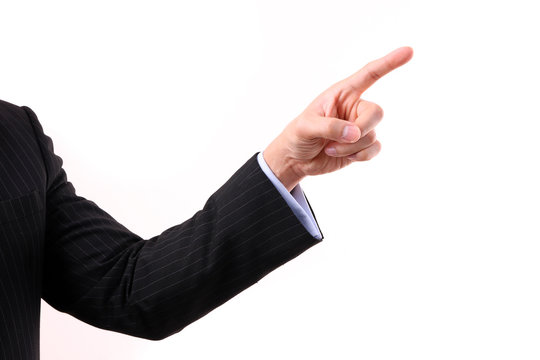 Business man's hand pointing up
