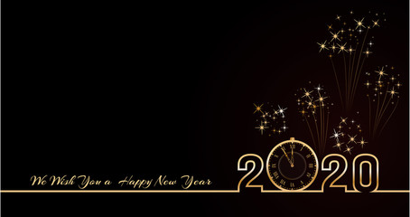 2020 Happy New Year text design. Vector greeting illustration with golden numbers and vintage clock on black background with fireworks. Holiday banner, poster template. End of the year countdown. . Fototapete
