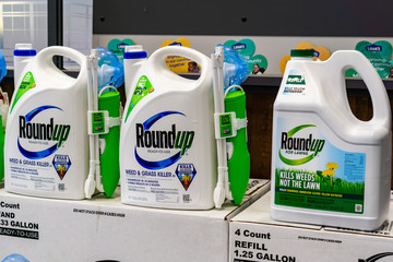 April 25, 2019 Sunnyvale / CA / USA -  RoundUp weed killer on a store shelf; Bayer purchased Monsanto in 2018 and since then there have been more than 10,000 lawsuits filed against its subsidiary