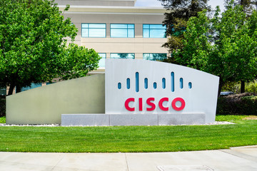 April 27, 2019 San Jose / CA / USA - CISCO sign in front of the headquarters in Silicon Valley, San Francisco bay area