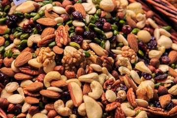 Variety of mixed nuts of different types in the Boqueria market