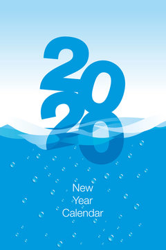 2020 Calendar New Year cover template water blue background