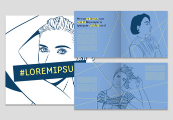 Blue and Yellow Booklet Layout with Portrait Illustrations