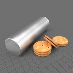 Round cookies with tin container