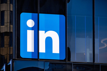 June 30, 2019 San Francisco / CA / USA - Large LinkedIn sign at the company's San Francisco offices; LinkedIn is an American business and employment-oriented service and it owned by Microsoft