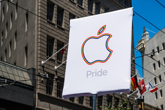 June 30, 2019 San Francisco / CA / USA - Apple logo customized for the SF Pride Parade on Market Street in downtown San Francisco