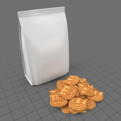 Cat cookies with pouch bag
