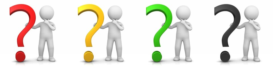 question mark icon set red gold yellow green black multi colored interrogation point white stick figure man asking queries symbol Wall mural