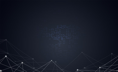 Abstract business connecting dots and lines futuristic network polygonal shape space low poly dark triangular wallpaper.