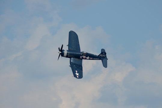 Corsair World War II airplane during an air show