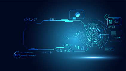 abstract technology ui futuristic concept hud interface hologram elements of digital data chart, communication, computing and circle percent vitality innovation on hi tech future design background Wall mural